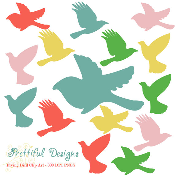 570x570 Flying Bird Silhouette Clip Art Muted Rainbow Clipart Instant