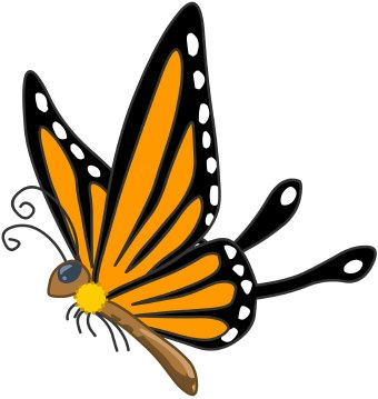 340x359 Butterfly Clipart Colorful Flying Butterfly