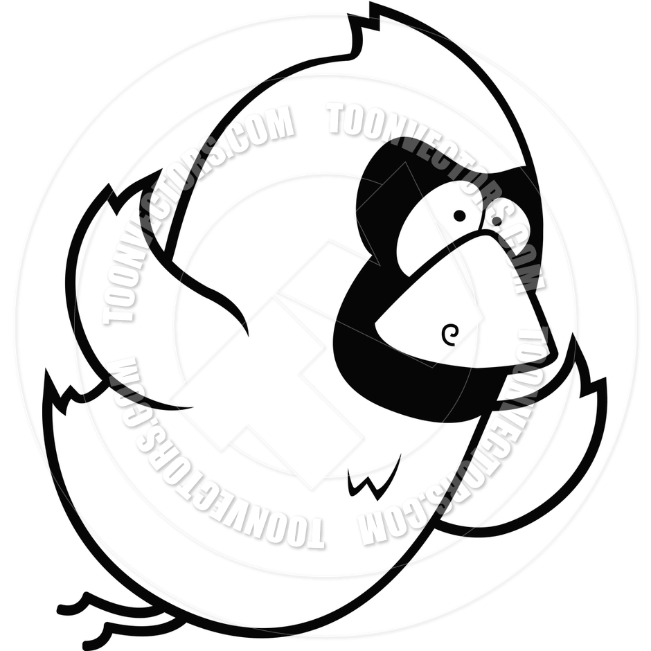 940x940 Cartoon Cardinal Flying (Black And White Line Art) By Cory Thoman