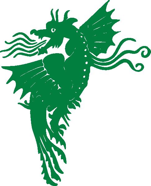 486x598 Flying Green Dragon Clip Art