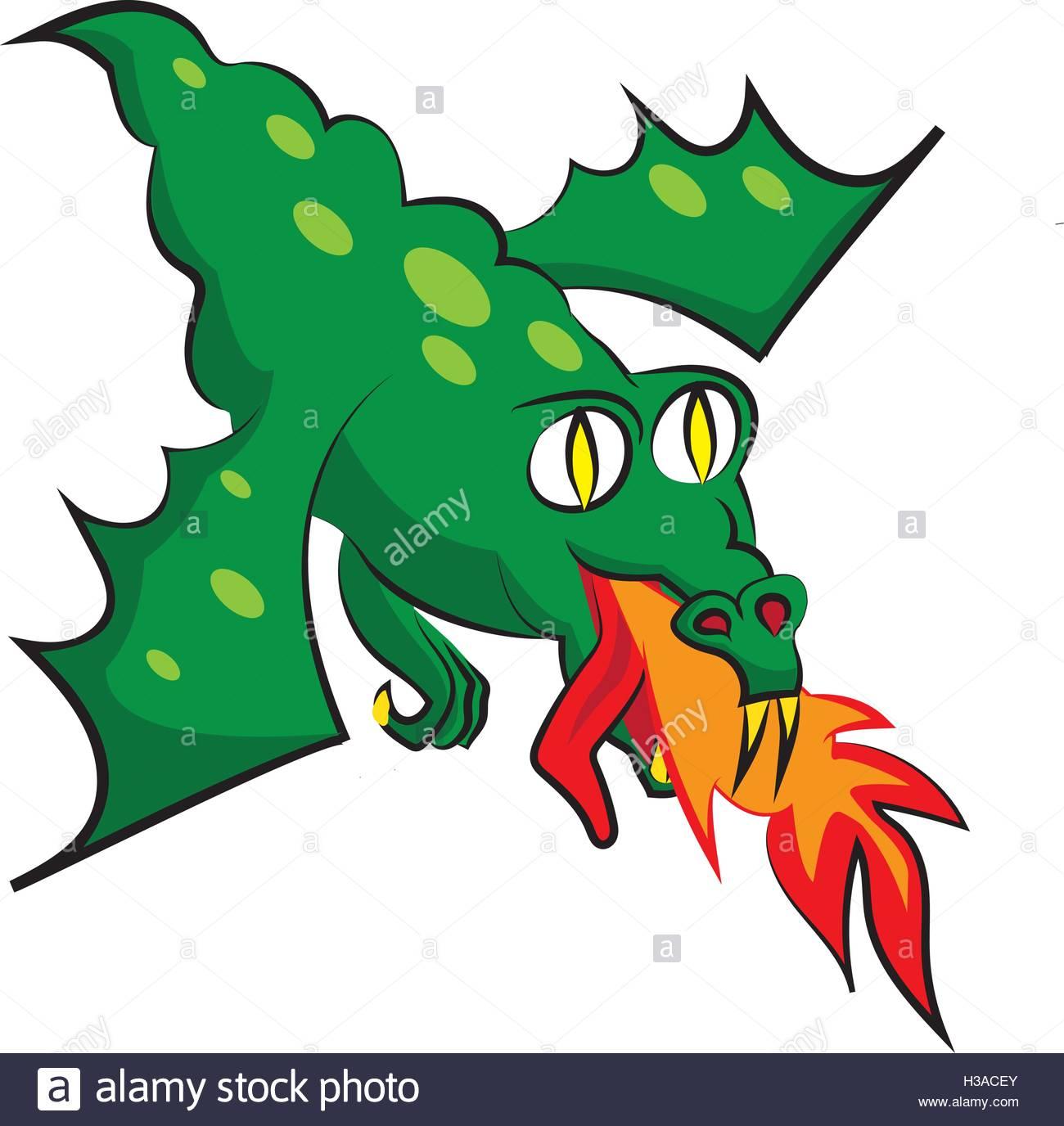 1300x1376 Green Flying Dragon. Clip Art Illustration Stock Vector Art