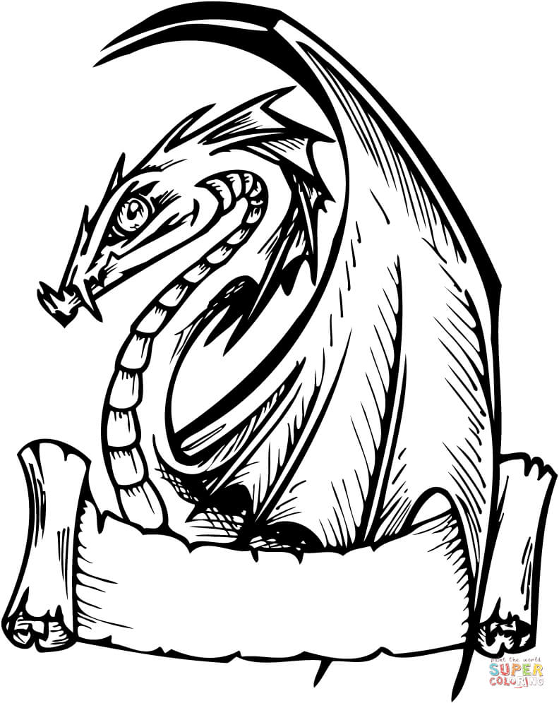 792x996 Dragon With Banner For Words Coloring Page Free Printable