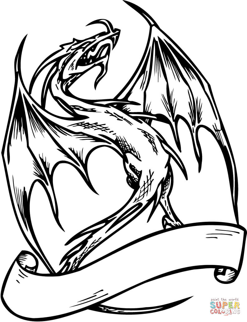 792x1032 Flying Dragon With Banner Coloring Page Free Printable Coloring
