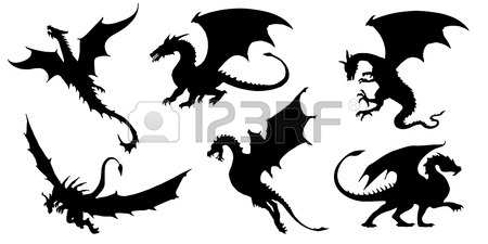 450x225 Dragon Silhouettes On The White Background Royalty Free Cliparts