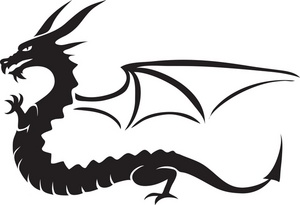 300x205 Flying Dragon Silhouette Free Clipart Images