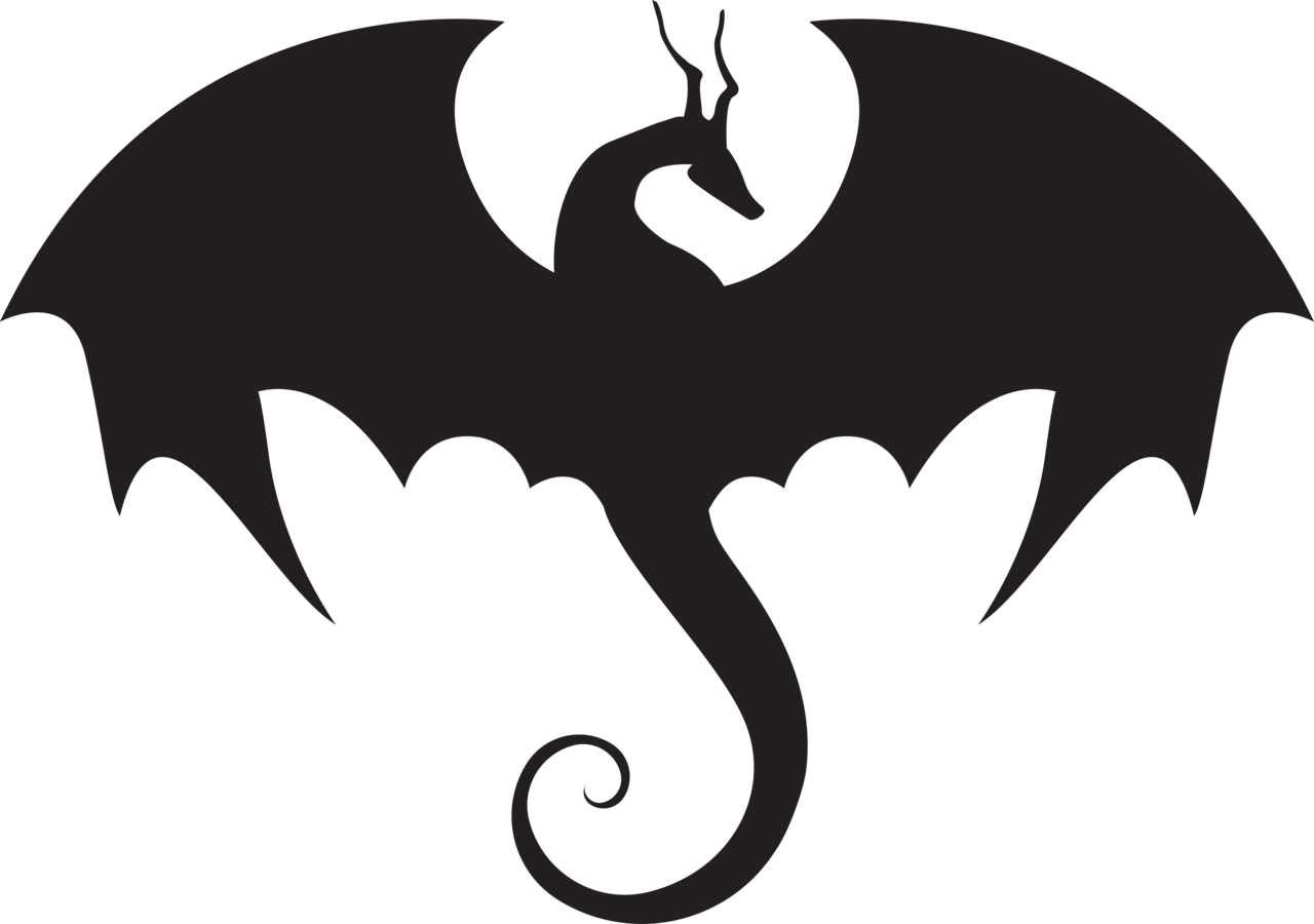 1280x900 Silhouette Clipart Dragon