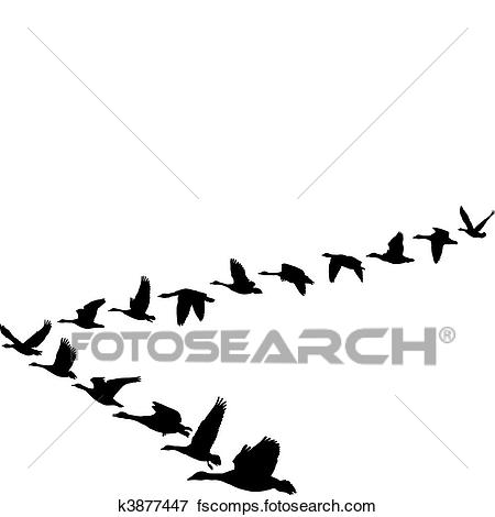 450x470 Clip Art Of Geese Flying In The Shape Of Unit K3877447