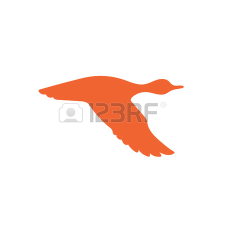 450x450 Monochrome Illustration With Flying Wild Duck Over The Water