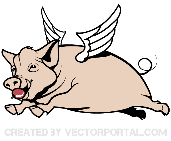 600x495 Flying Pig Vector Image 123freevectors