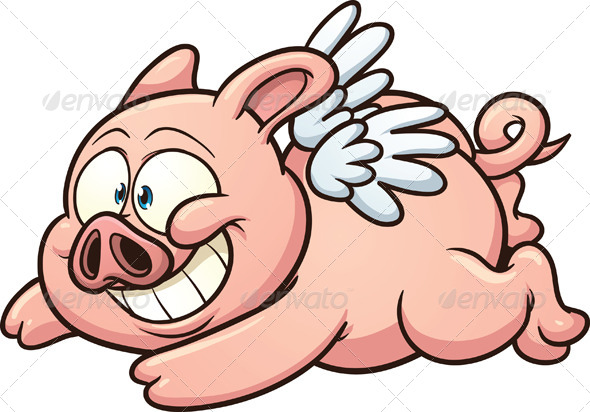 590x412 Cartoon Flying Pig By Memoangeles Graphicriver