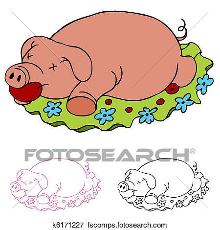 450x470 Clip Art Of Luau Roasted Pig K6171227