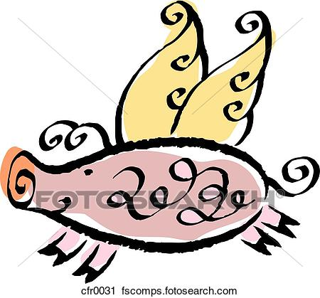 450x419 Clipart Of When Pigs Fly Cfr0031