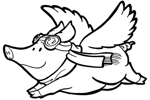 500x334 Flying Pig Clipart Black And White
