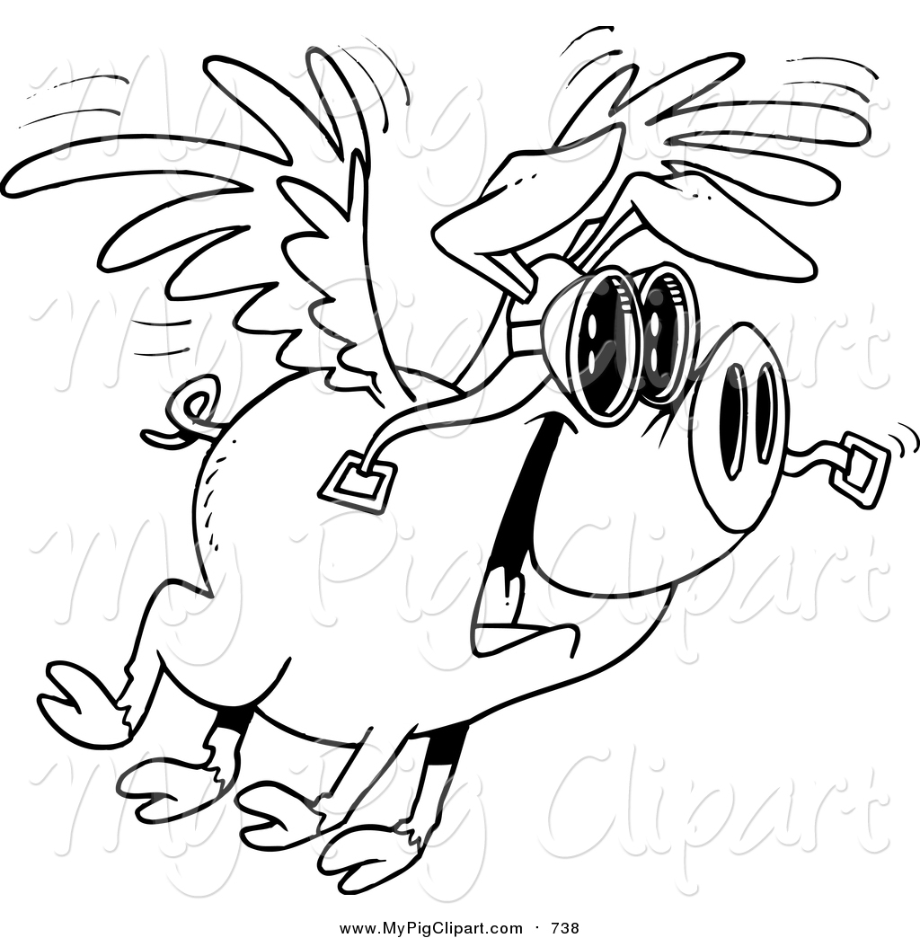 1024x1044 Swine Clipart Of A Black And White Excited Flying Pig By Toonaday
