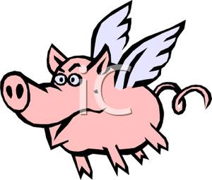 300x255 Colorful Cartoon Of A Flying Pig
