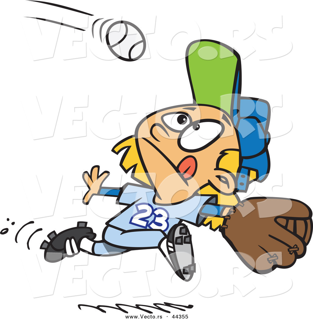 1024x1044 Vector Of A Focused Cartoon Girl Running To Catch A Baseball By