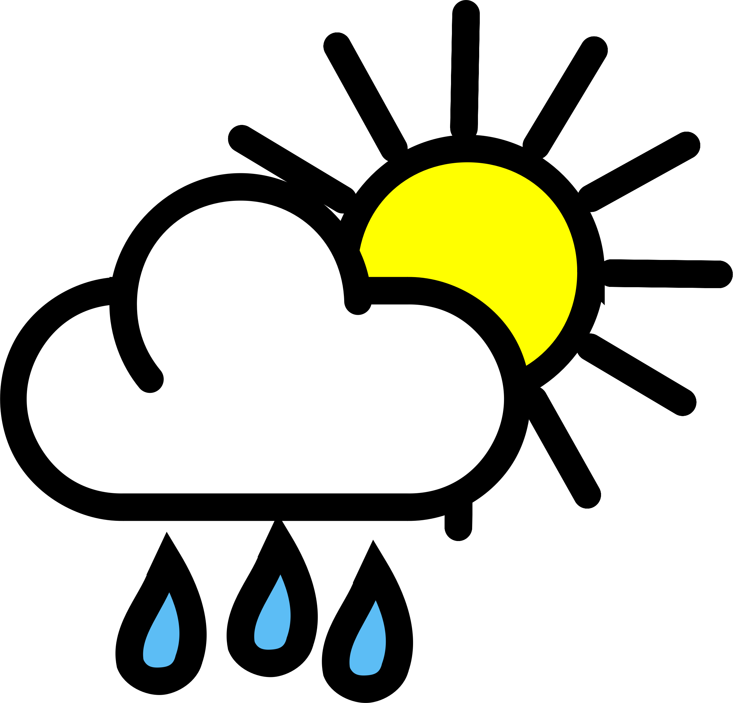 2394x2296 Cloudy Day And Raining Clipart