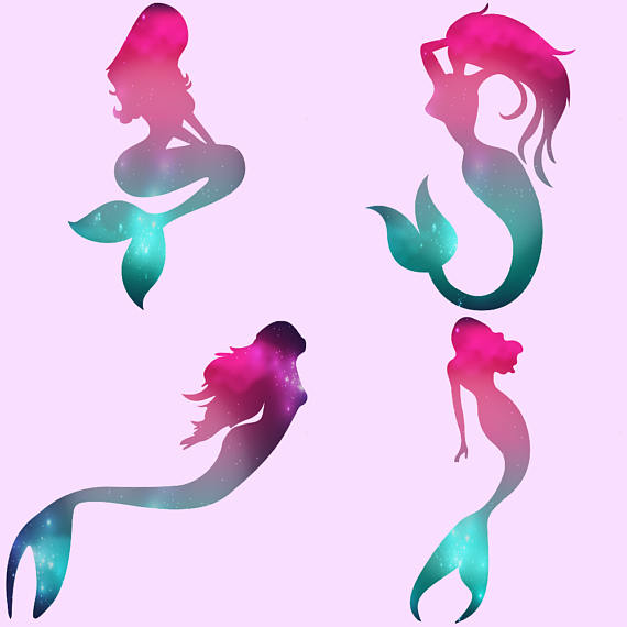 570x570 Gold Foil And Galaxy Mermaids Clipart B Design Bundles