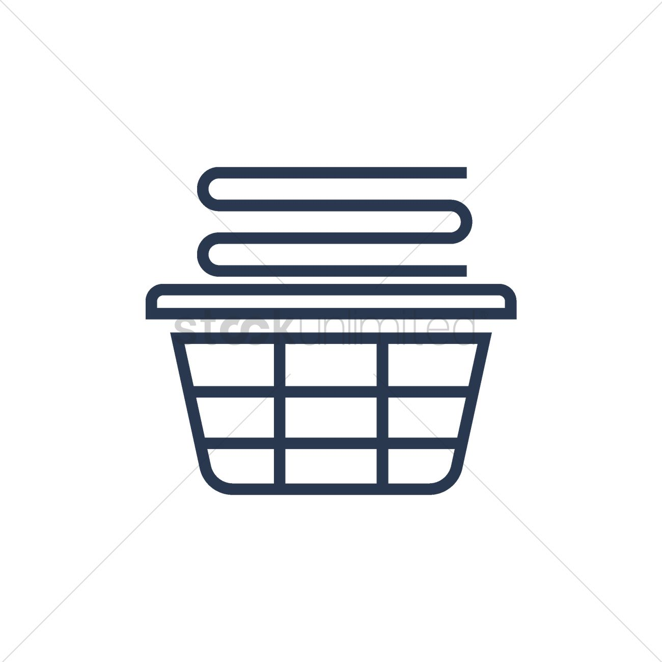 1300x1299 Stack Of Folded Clothes In Laundry Basket Vector Image