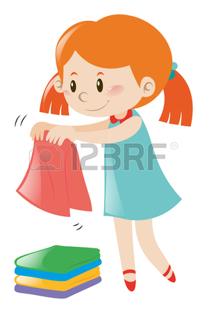 298x450 Two Girls Folding Clothes Illustration Royalty Free Cliparts