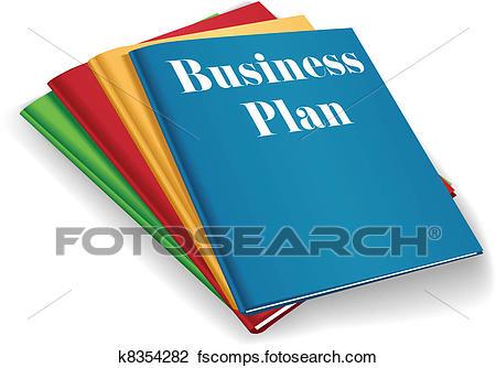 450x334 Clipart Of Business Plan Folder Binders Stack K8354282