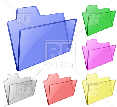 400x367 Glossy Transparent Folders For Documents Royalty Free Vector Clip
