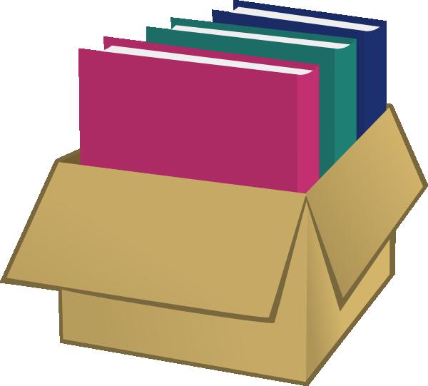 600x541 Box With Folders Clip Art