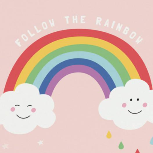 527x527 Follow The Rainbow Pink Nursery Girls Wall Art By Paper Joy