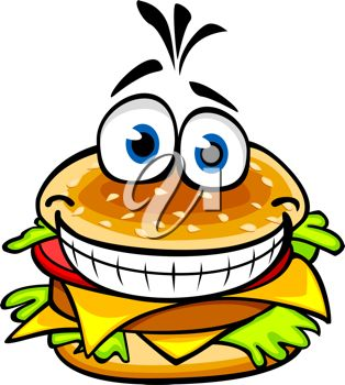 314x350 Clip Art Illustration Of A Smiling Cartoon Burger