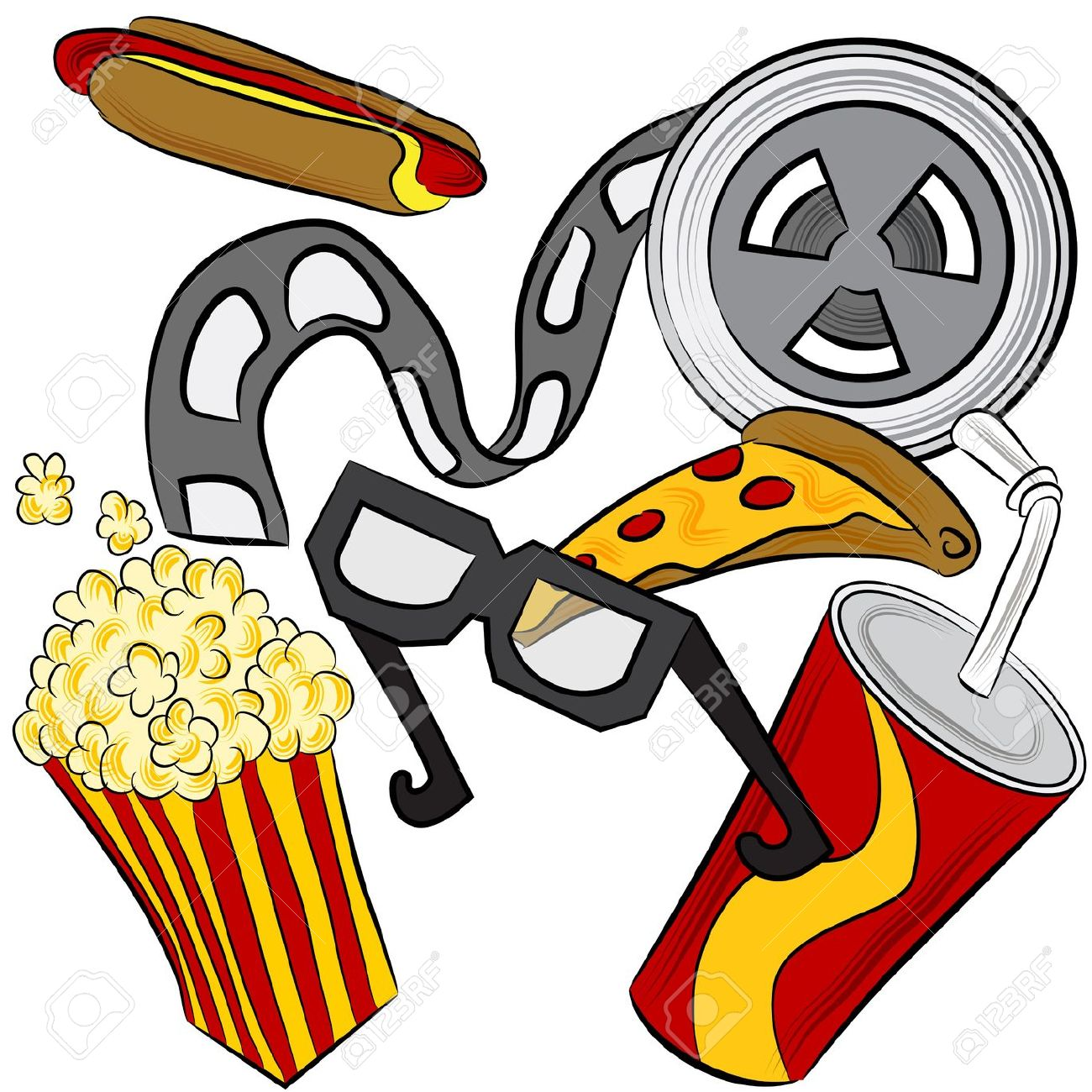 1300x1300 Movie Theater Food And Drinks Clipart