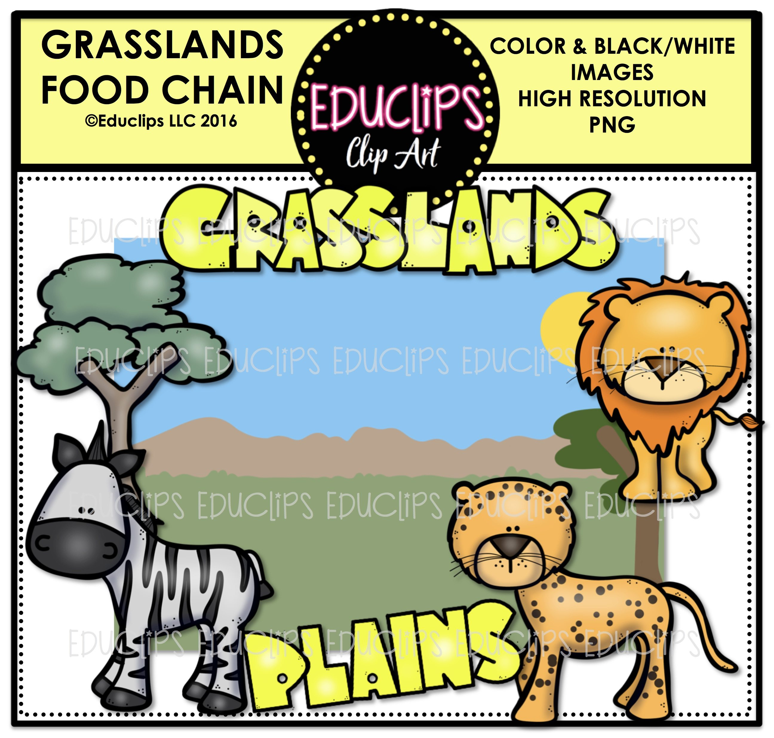 2592x2472 Grasslands Food Chain Clip Art Mini Bundle (Color And Bampw