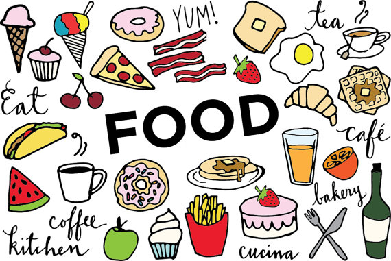570x381 Food Clip Art Hand Drawn Clip Art Food Collage Sheet