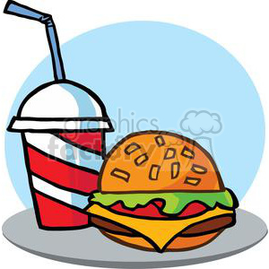 300x300 Royalty Free Fast Food Hamburger And A Soda 379286 Vector Clip Art