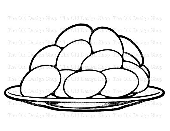 570x440 Eggs Stacked on Plate Vintage Food Clip Art Digital Graphic