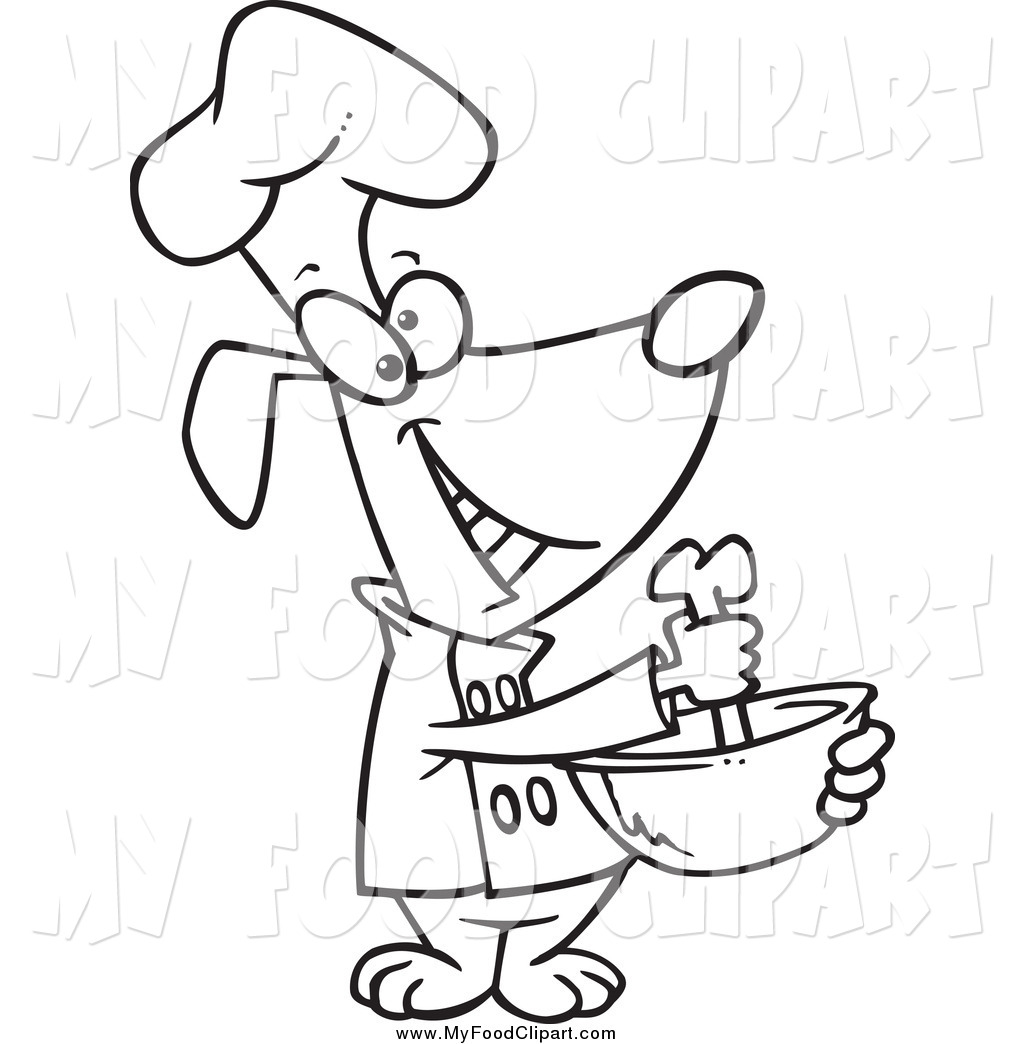 1024x1044 Food Clip Art of a Black and White Happy Chef Dog Mixing with a
