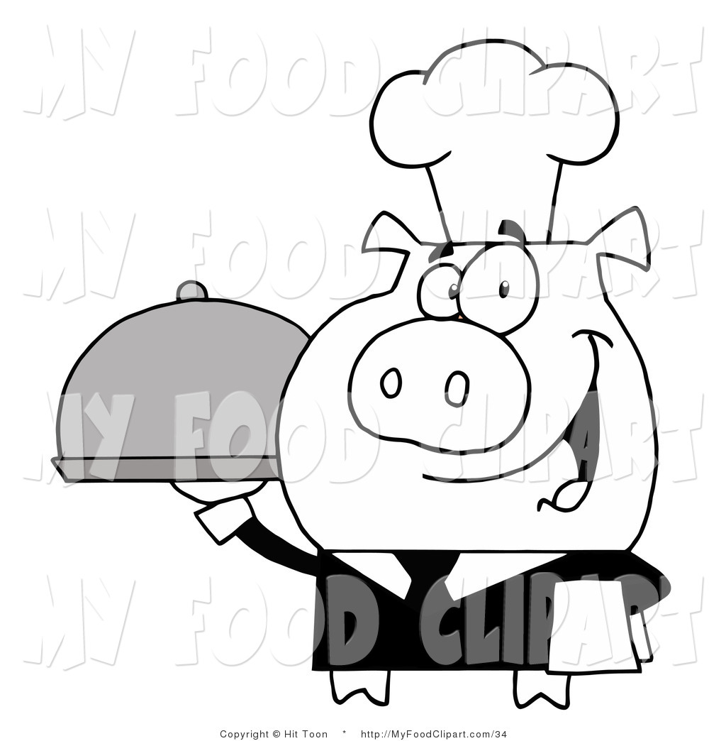1024x1044 Food Clip Art of a Black and White Waiter Pig Serving Food on a