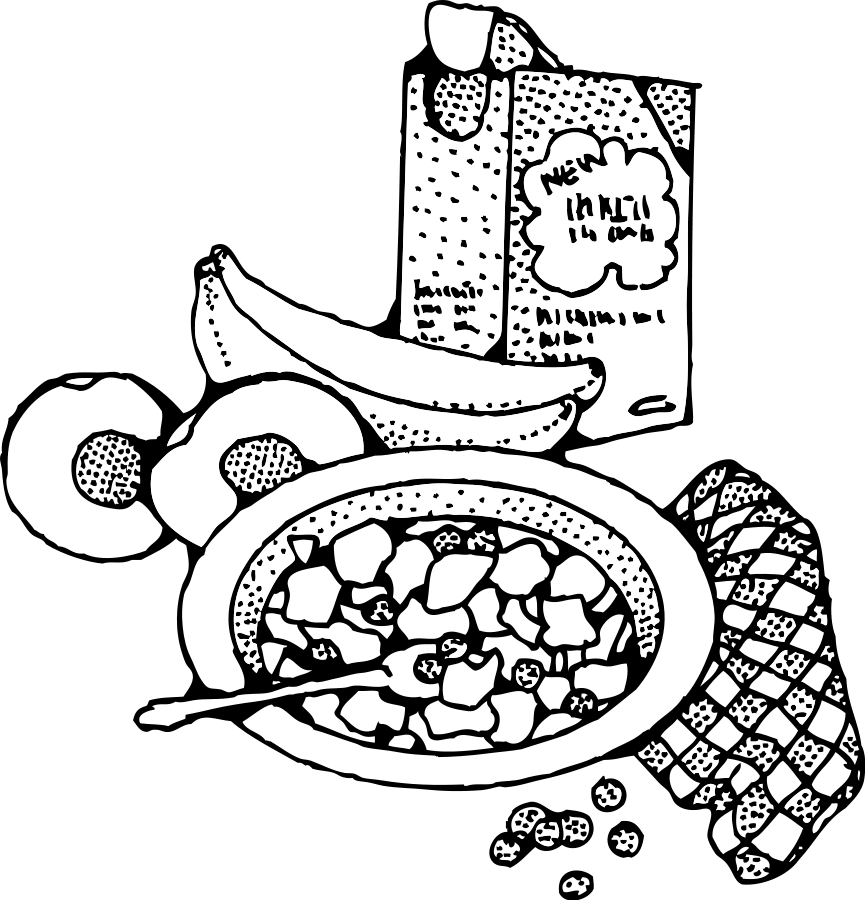 865x900 Free Black And White Breakfast Clipart
