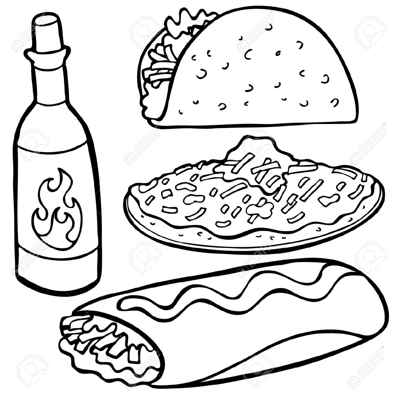 1300x1300 Tacos Clipart Black And White