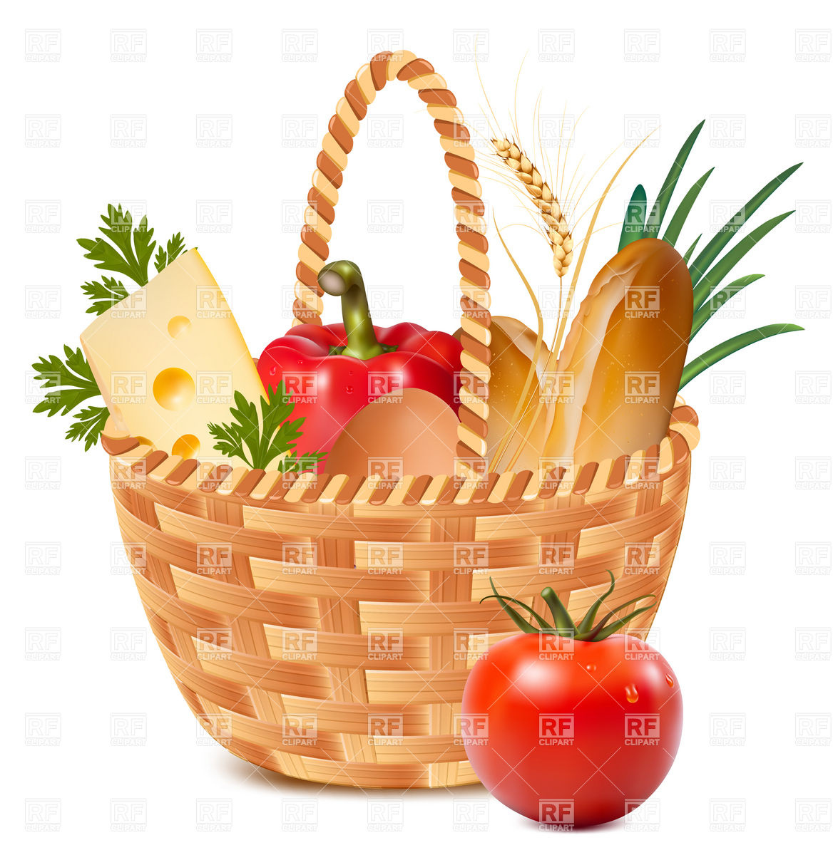 1175x1200 Basket Full Of Food Royalty Free Vector Clip Art Image