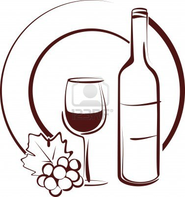 377x401 Still Life With Plate, Wine Bottle, Glass, And Grapes Clip Art