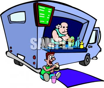 350x296 Royalty Free Clip Art Image Man Working In A Lunch Truck