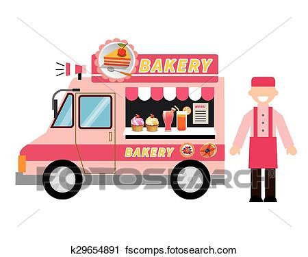 450x375 Clipart Of Food Truck Bakery K29654891