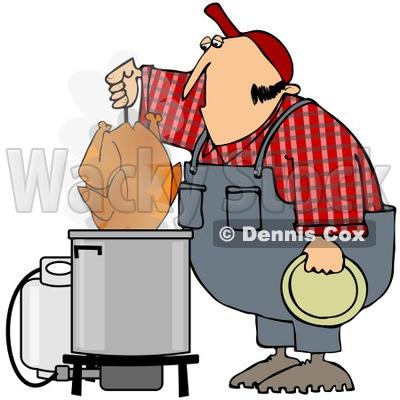 400x400 Free (Rf) Clipart Illustration Of A Hillbilly Deep Frying A Turkey