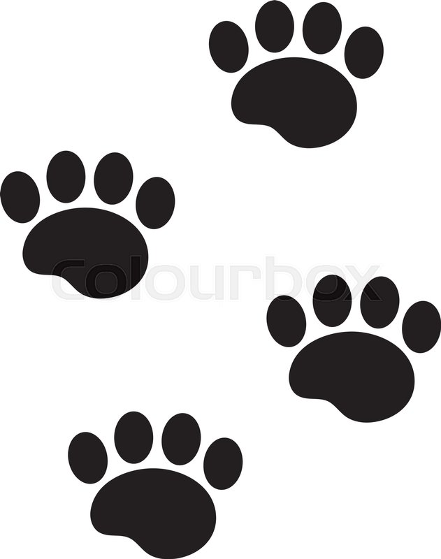 631x800 Foot Marks Of An Animal Icon, Flat, Cartoon Style. Traces Of Dog