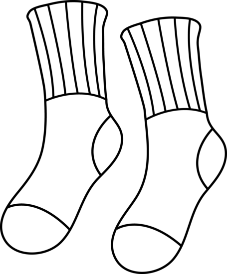 455x550 Pair Of Socks Line Art