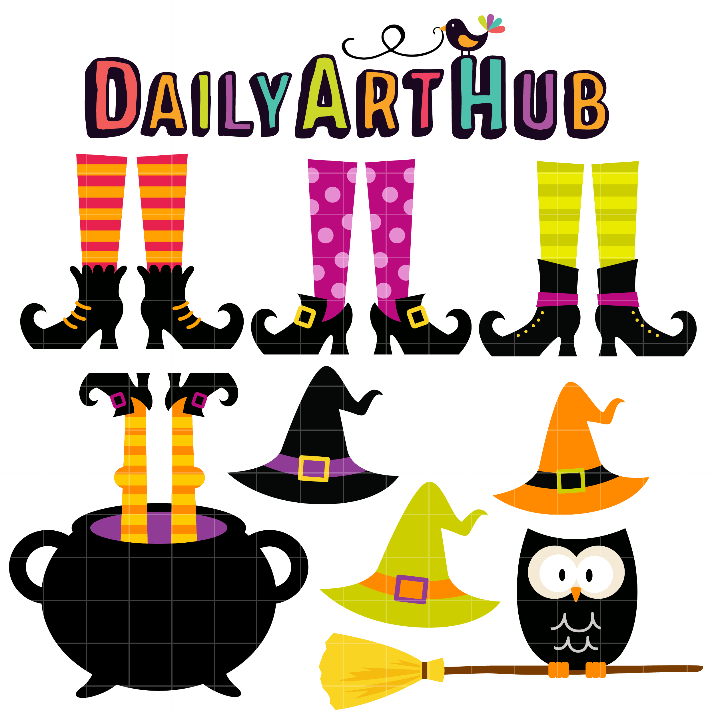 2500x2500 Witch Feet And Hats Clip Art Set Daily Art Hub