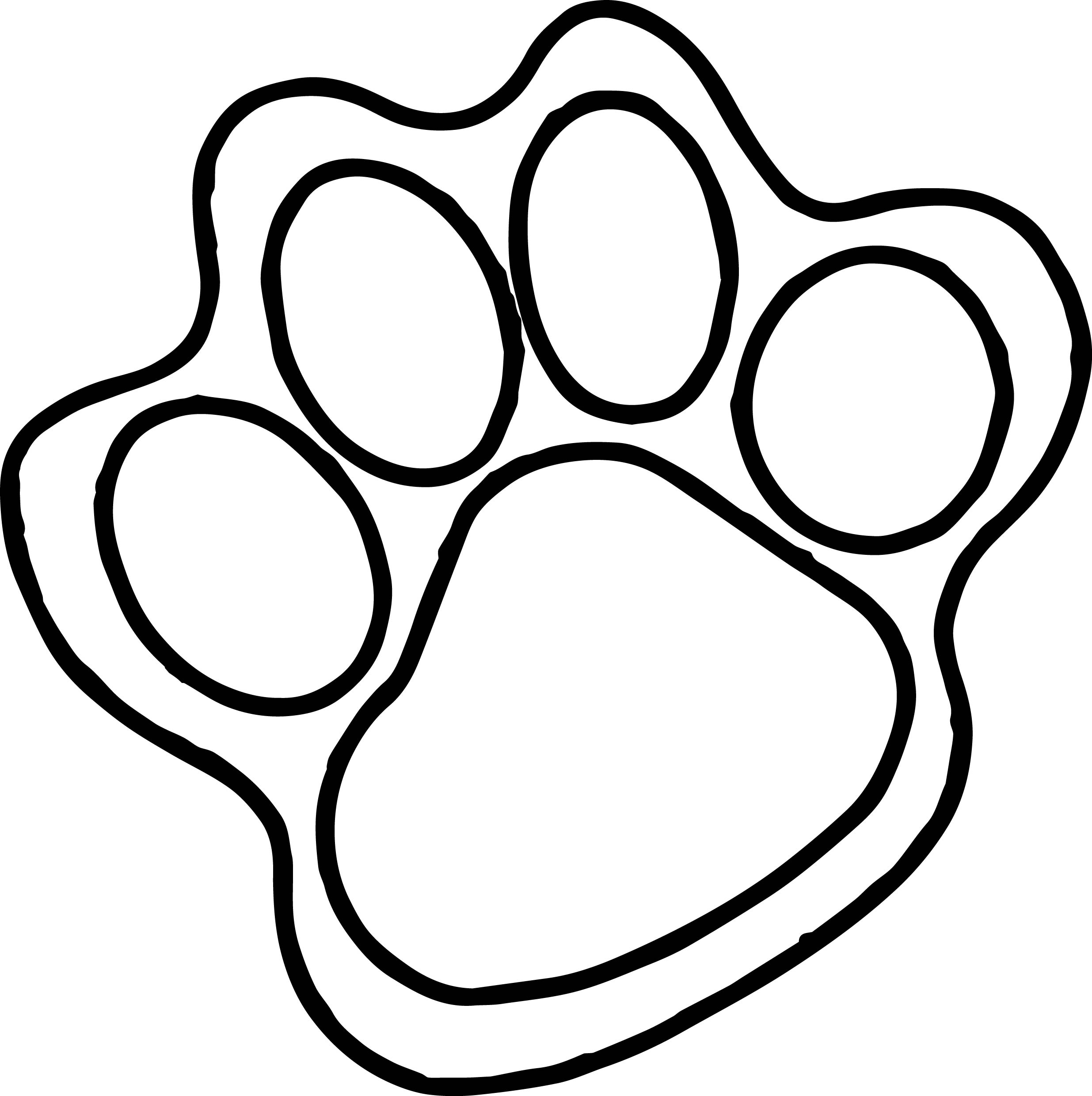 2471x2481 Tiger Foot Print Coloring Page Wecoloringpage