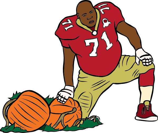 600x504 Football Player With Pumpkin Clip Art