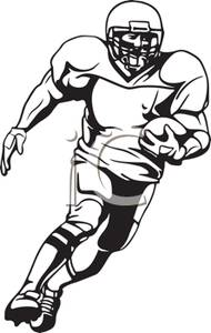 190x300 Black And White Cartoon Of A Football Player Running Down Field