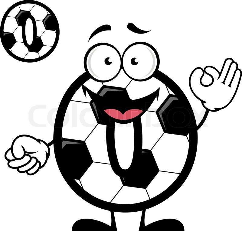 800x764 Cartoon Soccer Or Football Ball Pattern Number Zero With Cheerful